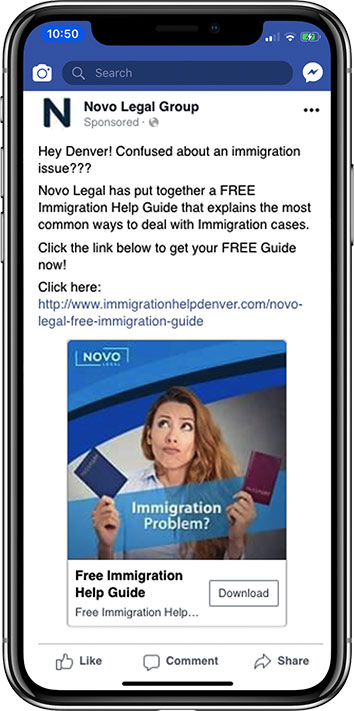 mockup of law firm facebook ad on iphone