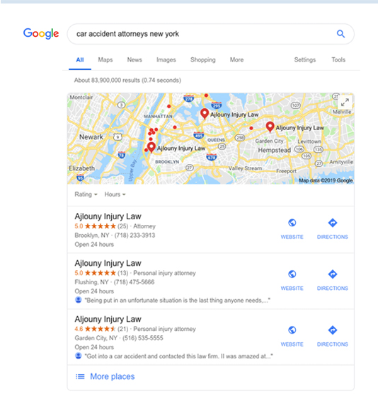 local map search results for lawyers