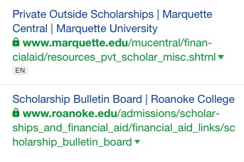 screenshot of external scholarships links in ahrefs