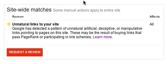 screenshot of google unnatural links penalty