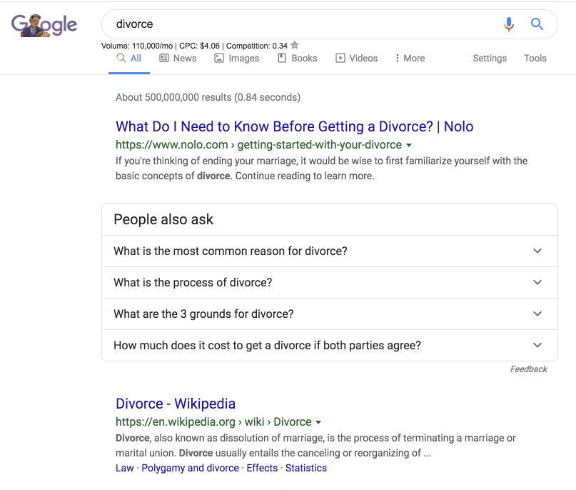 screenshot of google search for the word divorce