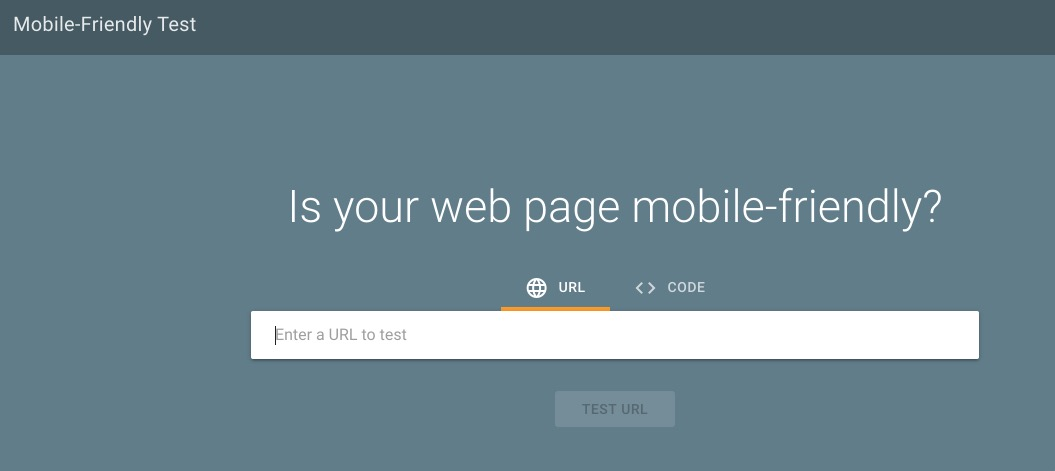 Screenshot of Google's mobile-friendly website testing tool
