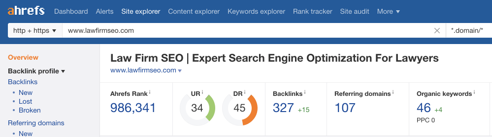 screenshot showing the ahrefs overview for lawfirmseo.com