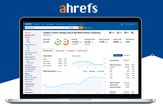 image of ahrefs on a laptop screen