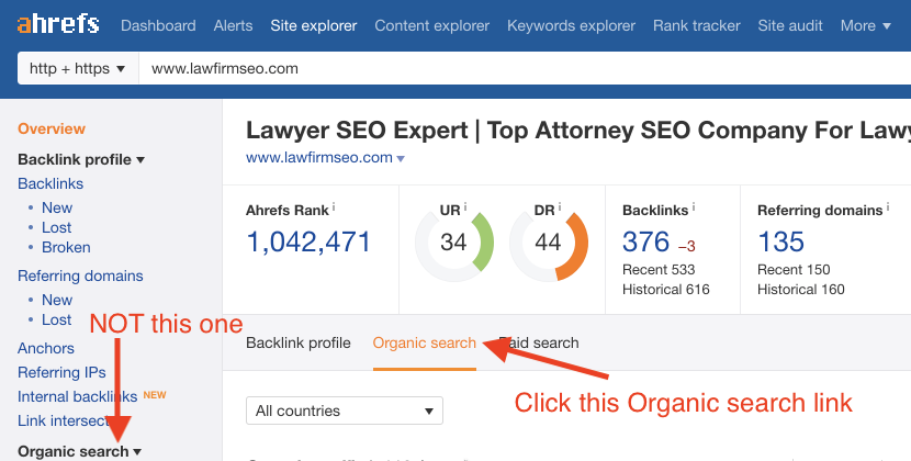Screenshot illustrating the correct Organic Search tab to click in Ahrefs to see Organic Keywords growth