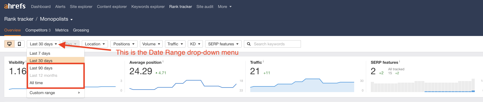 Screenshot pointing out the Date Range drop-down in ahrefs when reviewing Rankings Growth