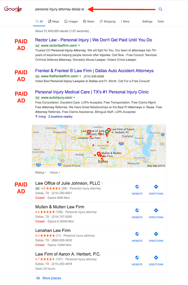 Dallas pi attorney ads maps isolated
