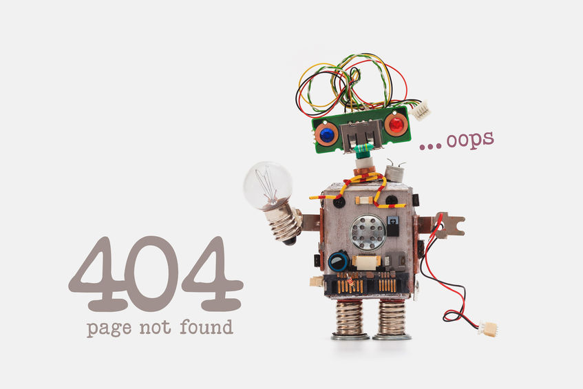 image depicting 404 error page with robot