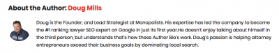 screenshot of author bio for doug mills
