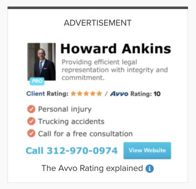 screenshot showing an example of a paid ad by an attorney on Avvo.com