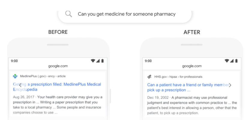 screenshoy of search results before and after BERT about pharmacy question