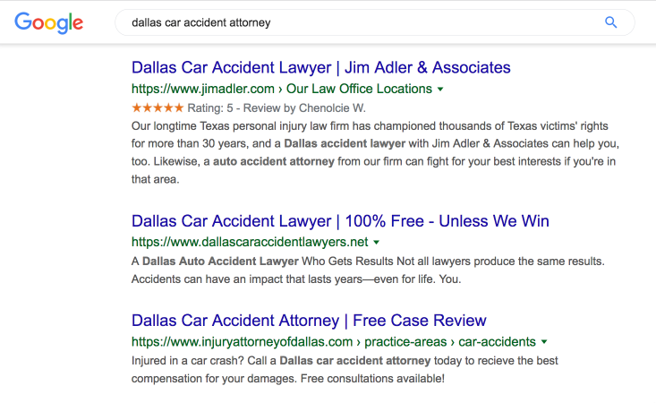 Screenshot of the top 3 organic results for the search Dallas car accident attorney