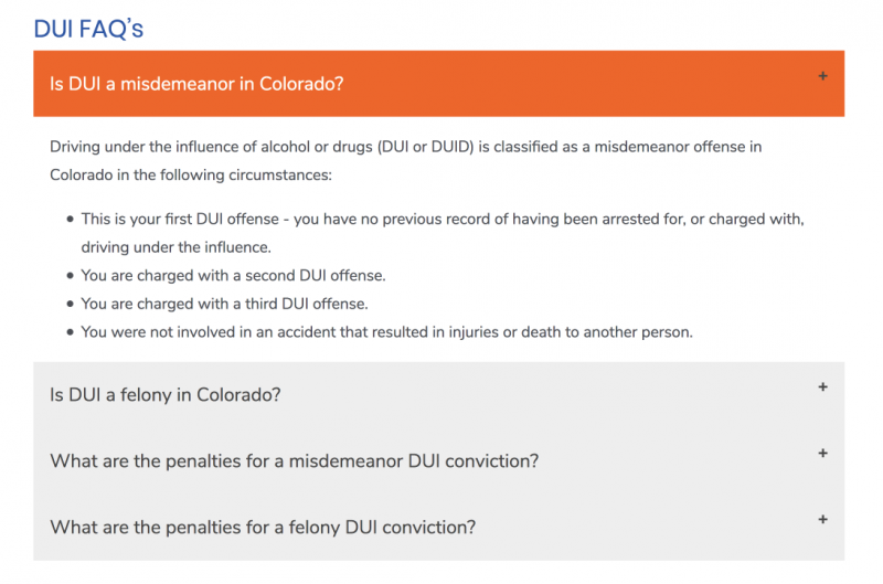 screenshot of FAQ section on DUI attorney website