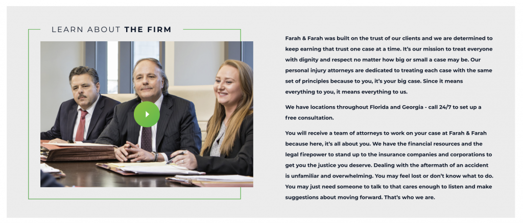 Screenshot of a video on the farah and farah personal injury law firm website