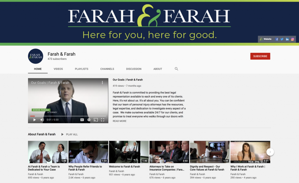 screenshot of the farah and farah personal injury law firm youtube channel
