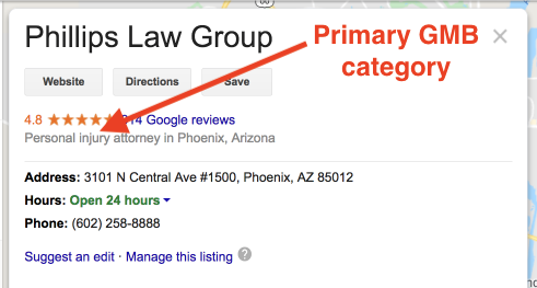Screenshot of a GMB listing for a Phoenix car accident attorney with red arrow pointing to the GMB category