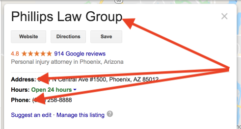Screenshot of a GMB listing for a Phoenix car accident attorney with arrows pointing to name, address, and phone number