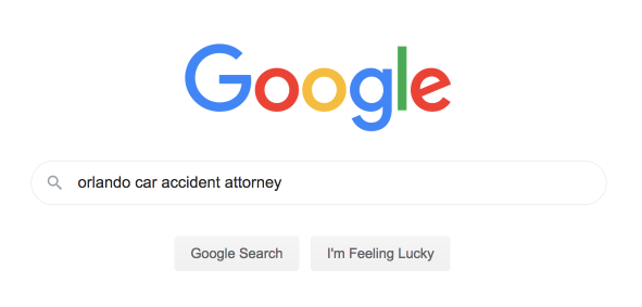 screenshot of google search bar showing a search query for orlando car accident attorney
