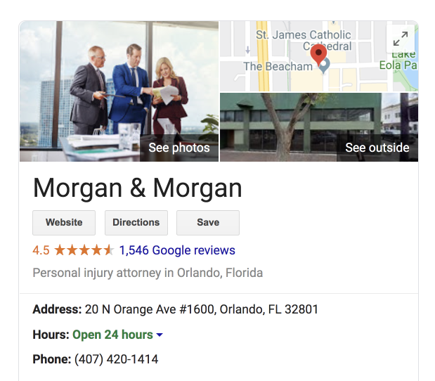 screenshot of personal injury attorney google my business listing