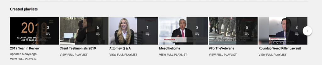 screenshot of morgan and morgan attorneys youtube playlists