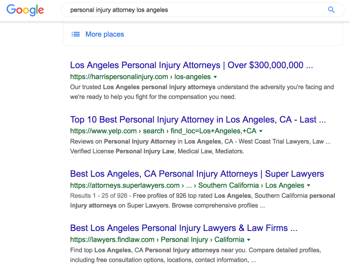 Screenshot of the Google organic search results for personal injury attorney los angeles