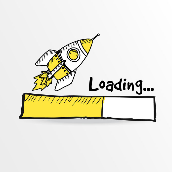 sketch of rocket depicting the concept of page load speed