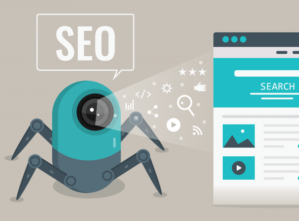 image representing search engine spiders crawling a web page