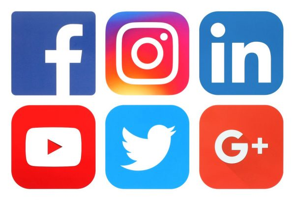 image of social media platform logos for facebook, instagran, linkedin, youtube, twitter, and google plus
